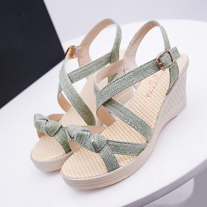 Casual D'été Chaussures Vert Toe Platform Peep Benjanies Sandales Femmes Wedges 5qUdRwtt