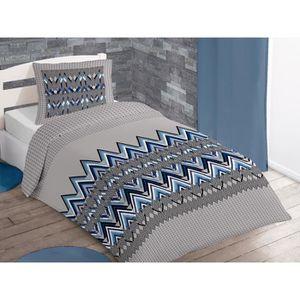 SOLEIL D'OCRE Parure de couette Arrow 100% coton - 1 housse de couette 140x200 cm + 1 taie d'oreiller 63x63 cm bleu, gris et blanc