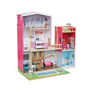 MAISON POUPÉE Maison de poupée en bois enfant avec piscine et sa