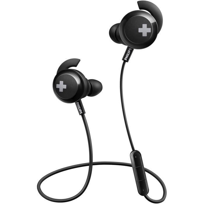 PHILIPS SHB4305BK/00 Ecouteurs Bluetooth sans fil intra-auriculaires Pure Bass - Noir