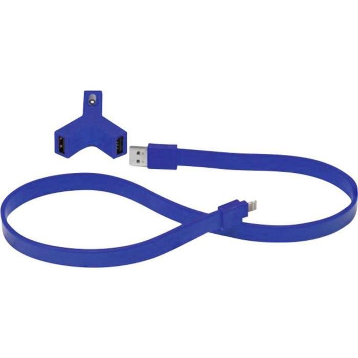 TYLT Chargeur de voiture double prise USB 2.1A + câble plat connexion USB et sortie - pour appareils Apple - 60cm - Rouge