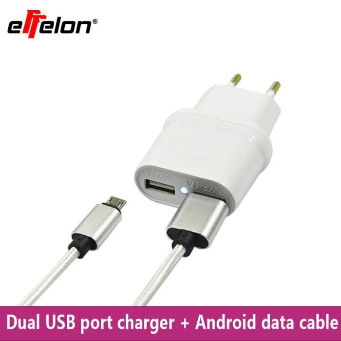Effelon 2 1a chargeur mural 2 ports eu micro c ble usb 5 for Chargeur mural usb