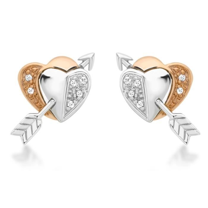 Boucles Doreilles - Femme - Or Bicolore 375-1000 (9 Cts) 1.4 Gr - Diamant EJ65K