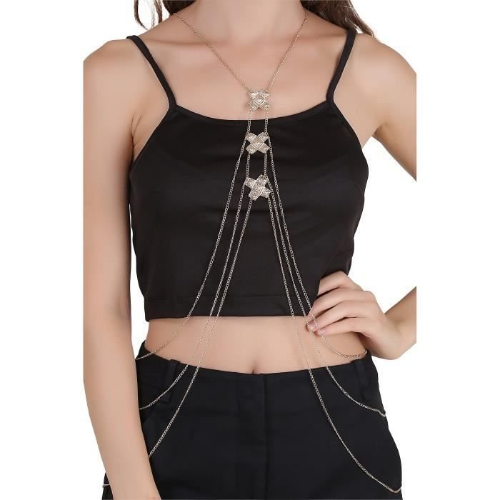 Womens Gold Plated Metal Belly Chain ForCQYX3