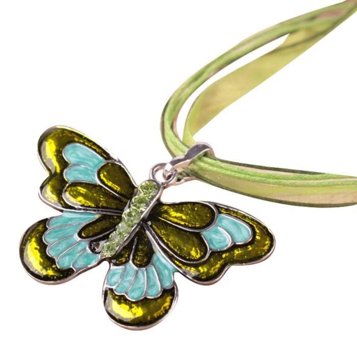 Estimetown®Bijoux mode femmes Collier Pendentif en cristal de guindineau d'émail Collier chaîne Vert@YNZ09201542