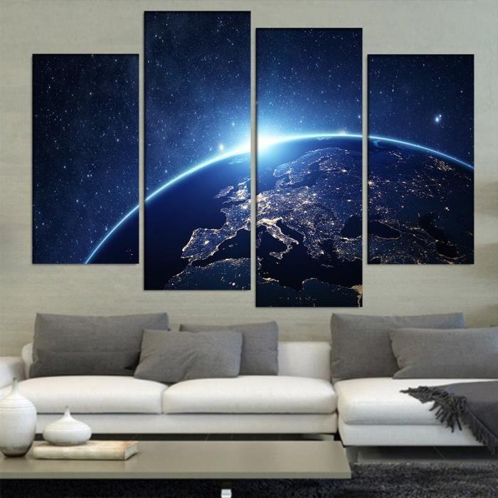 4 Pièces De La Terre De Lu0027espace Estampes Peinture Moderne Peinture Murale  Art Non Encadrée Pour Salon Maison Décor