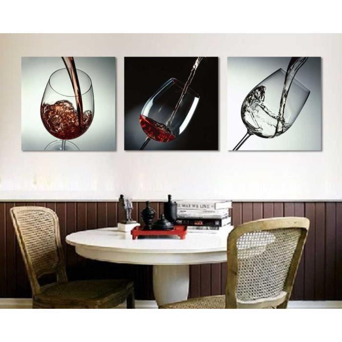 3 pi ces sans cadre cuisine moderne toile peintures vin rouge coupe bouteille mur art peinture. Black Bedroom Furniture Sets. Home Design Ideas