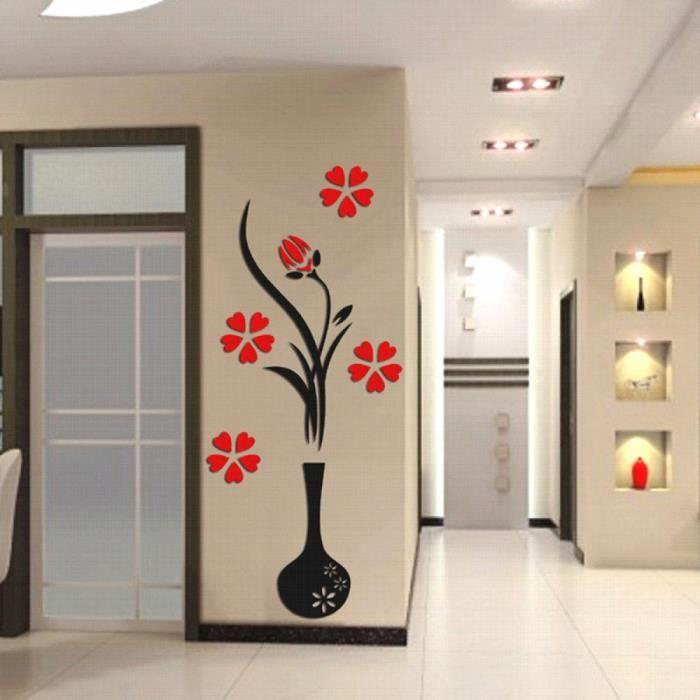 Exceptionnel Modèle: Round Vase   3d Plum Vase Stickers Muraux Maison Decoration  Creative Stickers Muraux Salon Du0027Entrée Peinture Fleurs Pour La