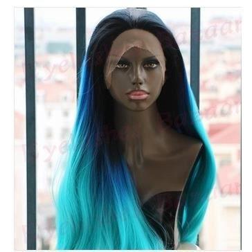 dentelle synthétique face perruque bleu foncé