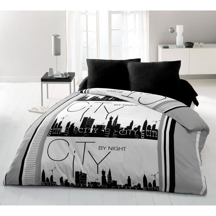 housse de couette imprim e gris achat vente housse de. Black Bedroom Furniture Sets. Home Design Ideas