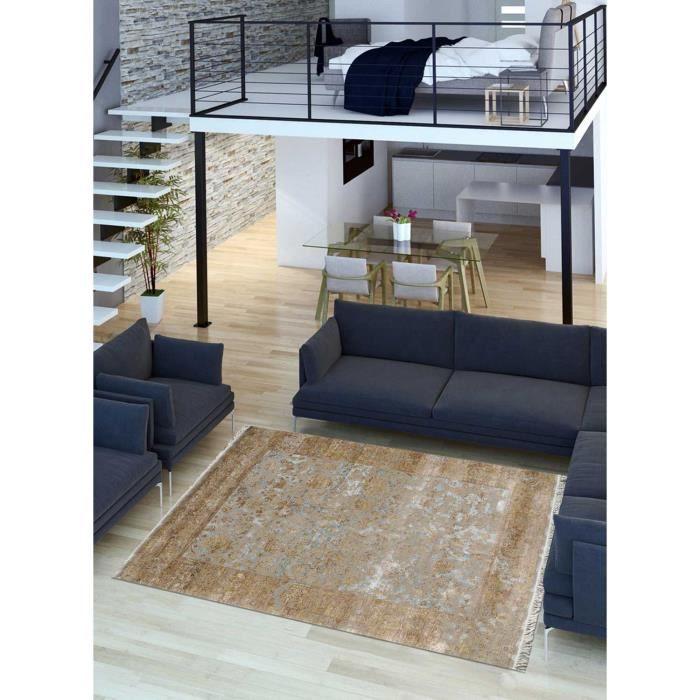 Salon Moderne Beige Marron tapis de salon destructure beige marron 250x300, par impalo, tapis