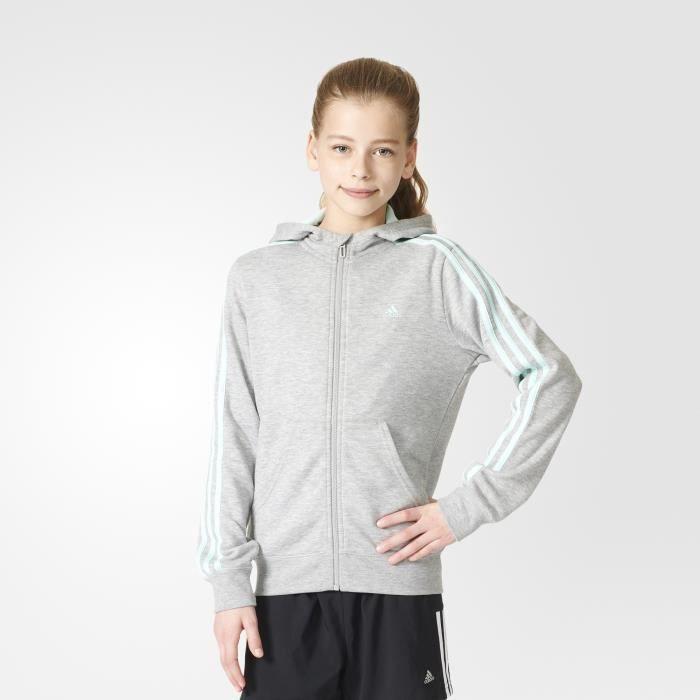 6643846d6bc38 BLOUSON MANTEAU DE SPORT Veste à capuche junior adidas zippée Essentials 3-