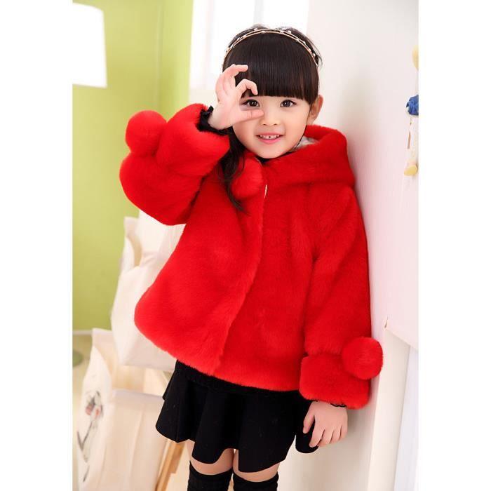 manteau de fourrure fille d 39 hiver chaud enfant rouge achat vente blouson soldes d s le. Black Bedroom Furniture Sets. Home Design Ideas