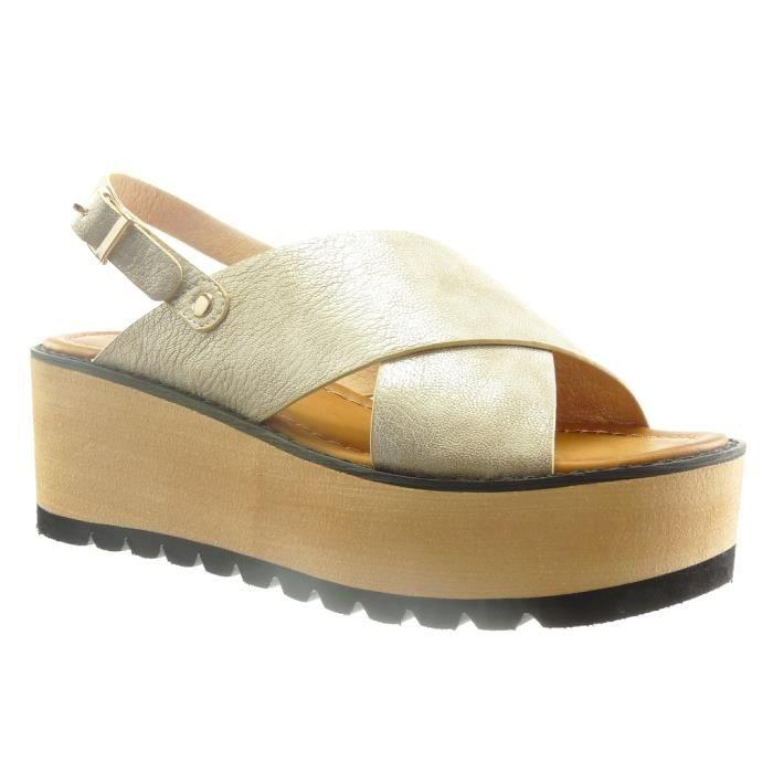 Angkorly - Chaussure Mode Sandale plateforme ouverte femme lanière Talon compensé plateforme 6.5 CM - Or - L6538