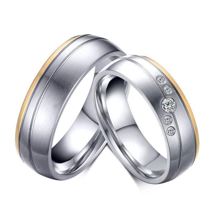 a001f305117 ALLIANCE - SOLITAIRE Alliance - Solitaire - BOBIJOO Jewelry - Alliance. Anneau  Bague Alliance Acier Or Argenté Strass Oxyde Zirconium Couple Top Mariage