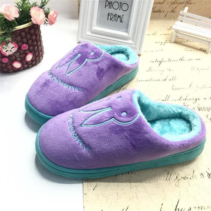 Femme Chaussons Lapin Coton Hiver Nouvelle Mode Couple Chausson plus cachemire chaud Chaussure Antidérapant super violet 40