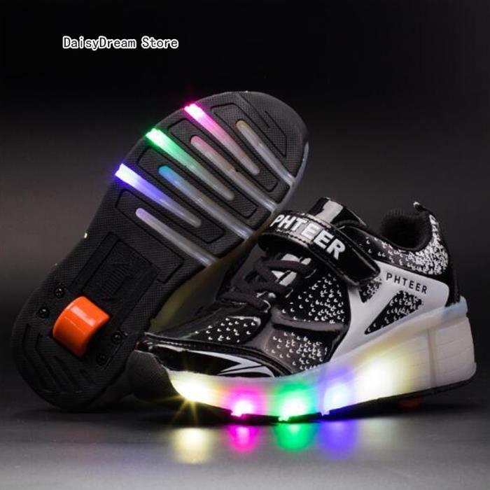 Baskets Enfants LED Chaussures Lumineuse À Roulettes Garçons Filles Sneakers Avec Roues Automatique De Patinage Chaussures avec