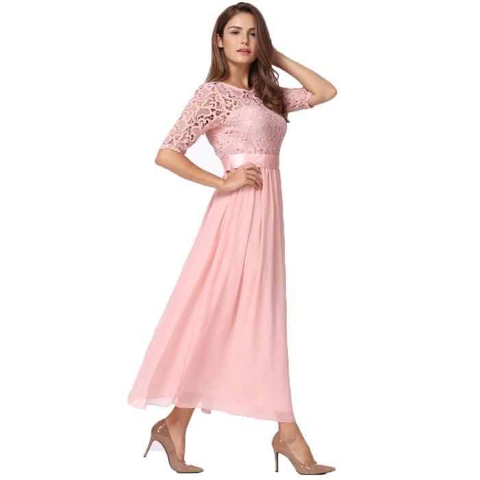 89f44180b54 Maxi longues robes femmes dentelle en mousseline de soie robe longue ...