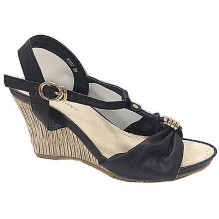 Chaussures sandale bout compense A107 Fashionfolie888 NOIR Femmes Escarpins ouvert à talon AB5qE6YWwp