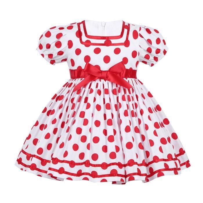aaf64e0feeed8 Robe à Pois Vintage Fille Bébé Enfant - Robe de Princesse Mariage Cérémonie Noël  Costume de carnaval Tutu Coton Anniversaire