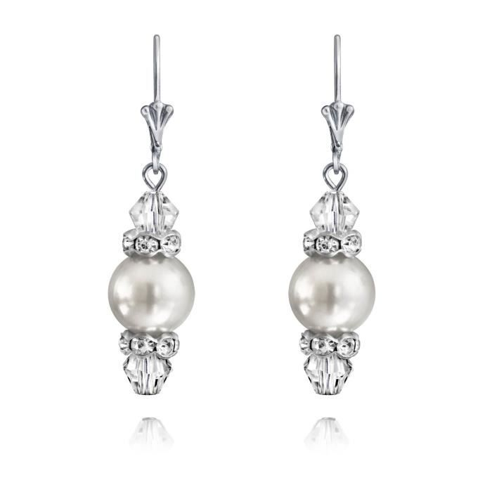 Bling Jewelry White Pearl Crystal simulé Argent 925 boucles darrière 10mm