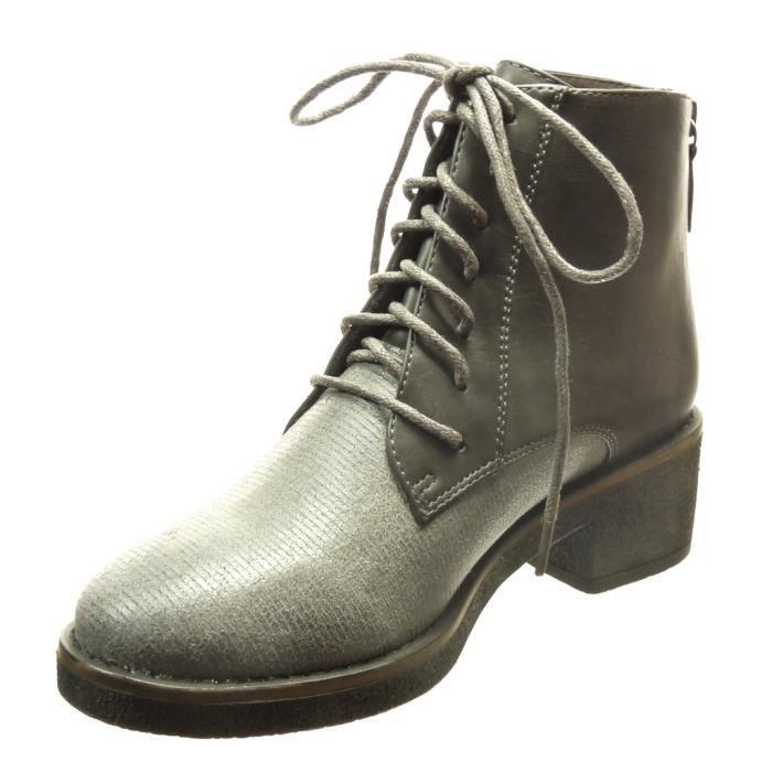 Angkorly - Chaussure Mode Bottine bi-matière montante femme lacets lignes Talon haut bloc 4.5 CM - Gris - AS1569