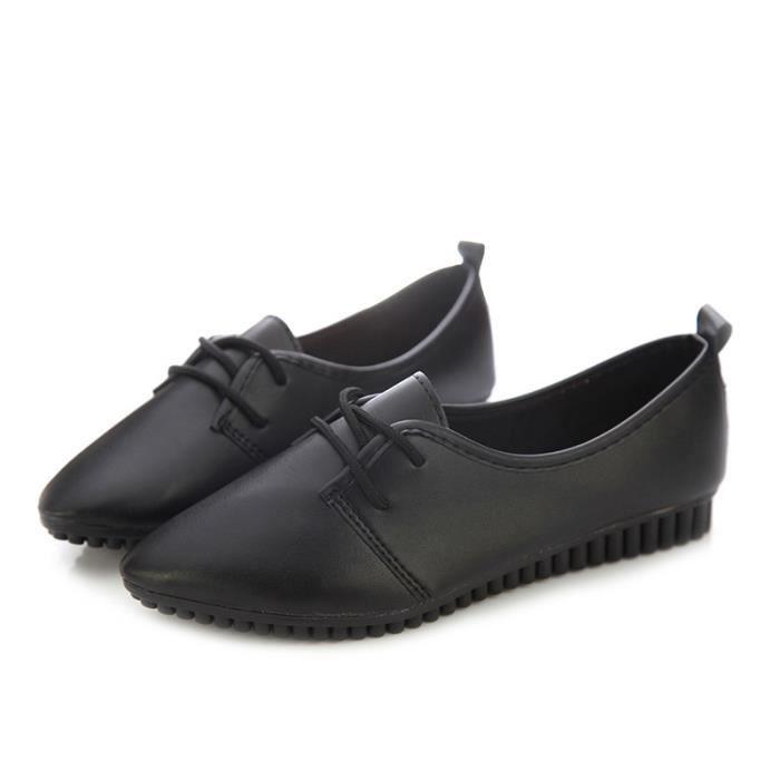 Chaussures plates de nouvelle mode vintage pour femme noir US7 = EUR38 = longueur 24CM