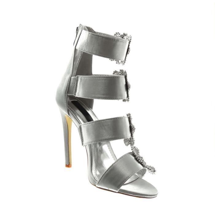 Angkorly - Chaussure Mode Escarpin Sandale lanière cheville stiletto femme lanière boucle strass diamant Talon haut aiguille 11 CM