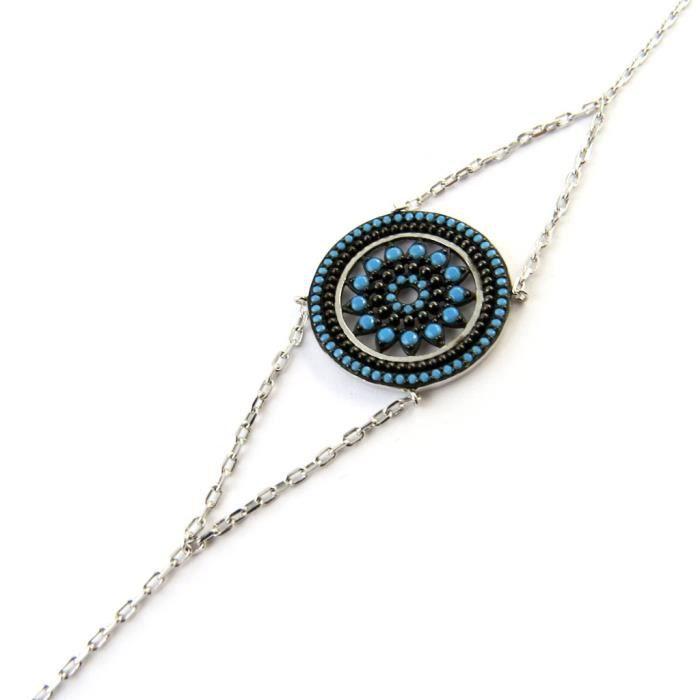 Bracelet argent Navajos (rhodié)- Les Trésors De Lily [N7152]