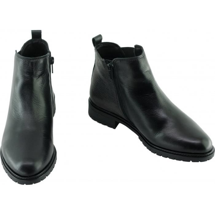 HALOA - Bottines style chelsea fermé par un zip marque Angelina chaussures Femme fabriquée en Espagne cuir noir et lézard métal