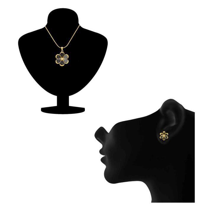 Femmes dor Monalisa Cats Eye Flower Pendentif plaqué Set Pour Nl1103202g EMZEM
