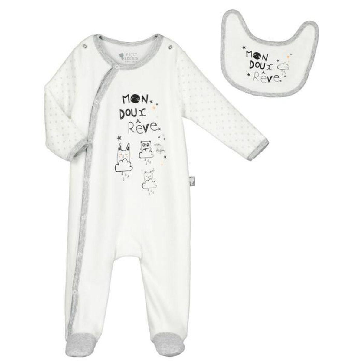 Grenouillère velours avec bavoir bébé mixte Doux rêves - Taille - 3 ... 62053c5f13a