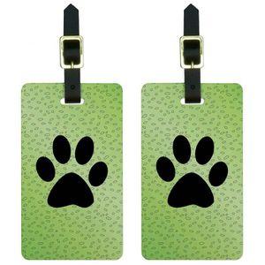 VALISE - BAGAGE Paw Print de Awesomeness vert Etiquettes de bagage