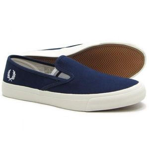BASKET BASKETS HOMME FRED PERRY B6221 CARBON BLUE