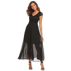 f978c4402351c ROBE Robe longue en dentelle maxi à taille haute femmes .