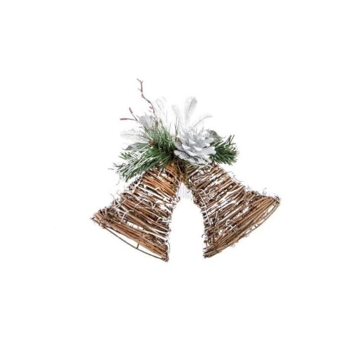 Cloche de Noël Argenté en rotin 21x6x9 cm