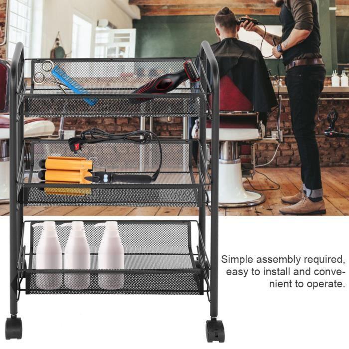 Tablette à mailles roulantes de cuisine en métal avec chariot de rangement  pour salon de coiffure, noir-XID