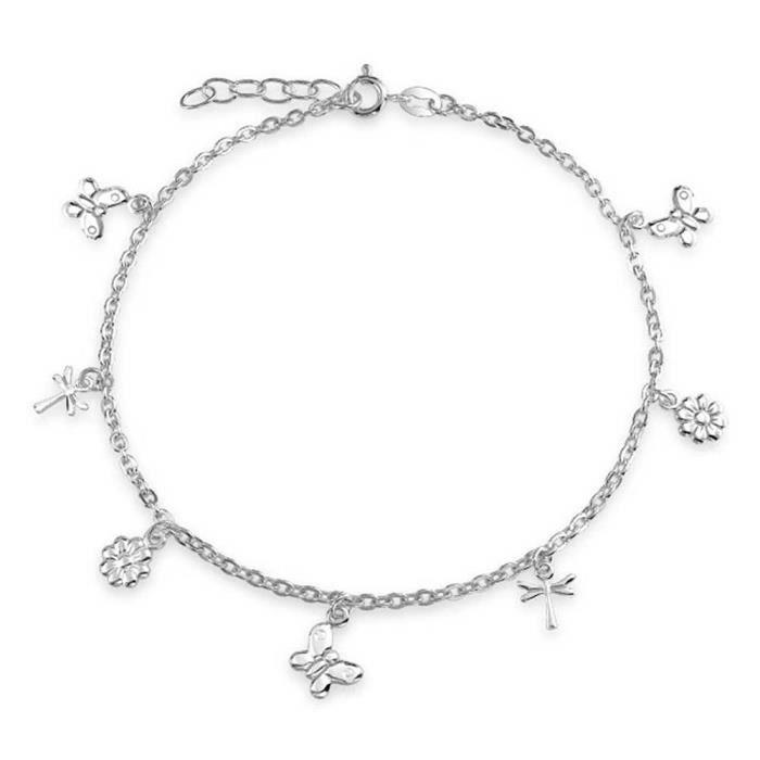 Bling Jewelry papillon Argent Sterling Dragonfly Flower charme cheville 9en