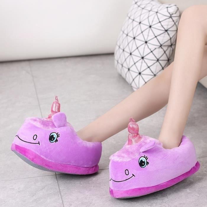 New Winter Indoor Pantoufles en peluche Accueil Chaussures Unicorn Chaussons pour Grown Survêtement Unisex Pantoufles d86ck