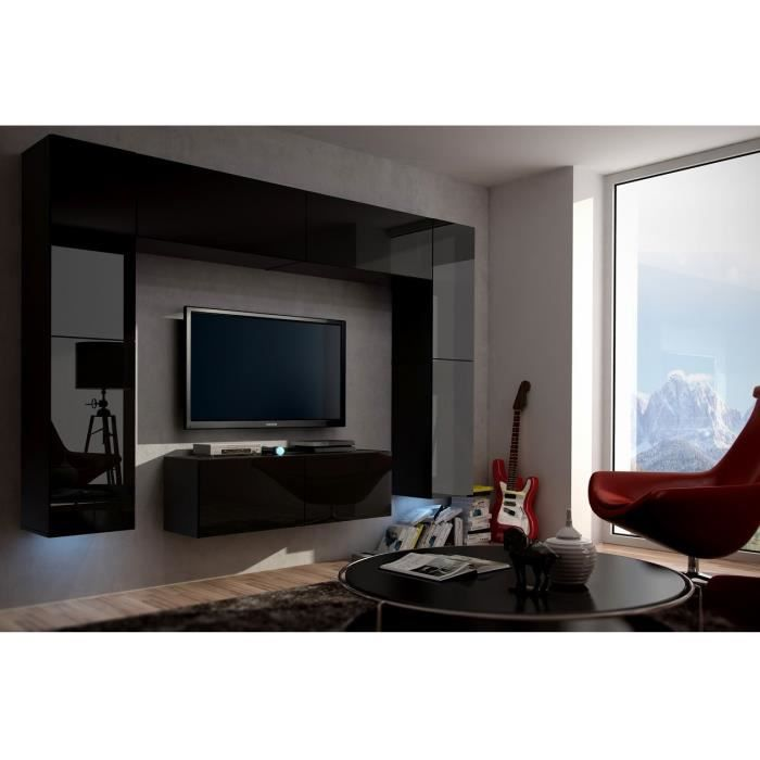 mur tv complet concept 3black meilleur prix achat vente living meuble tv mur tv complet. Black Bedroom Furniture Sets. Home Design Ideas