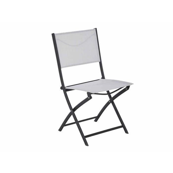 chaise de jardin pliante en m tal modula gris noir hesp ride achat vente fauteuil jardin. Black Bedroom Furniture Sets. Home Design Ideas