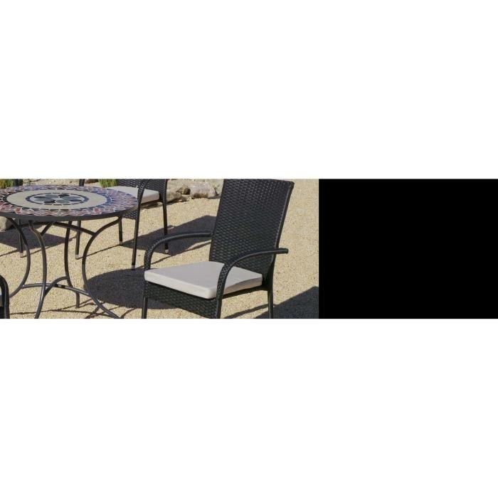 Salon de jardin table ronde mosaïque Cambel Ampuria Beige
