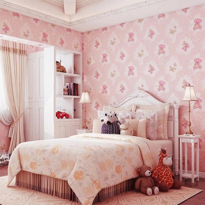 Kinlo® 100M*0.53M Papier Peint 3D Adhésif pour Chambre d\'Enfant Rose ...
