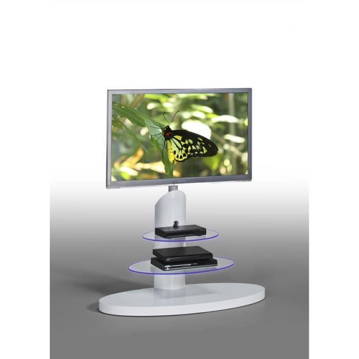 meuble tv design bois & verre coloris blanc sidonie - achat