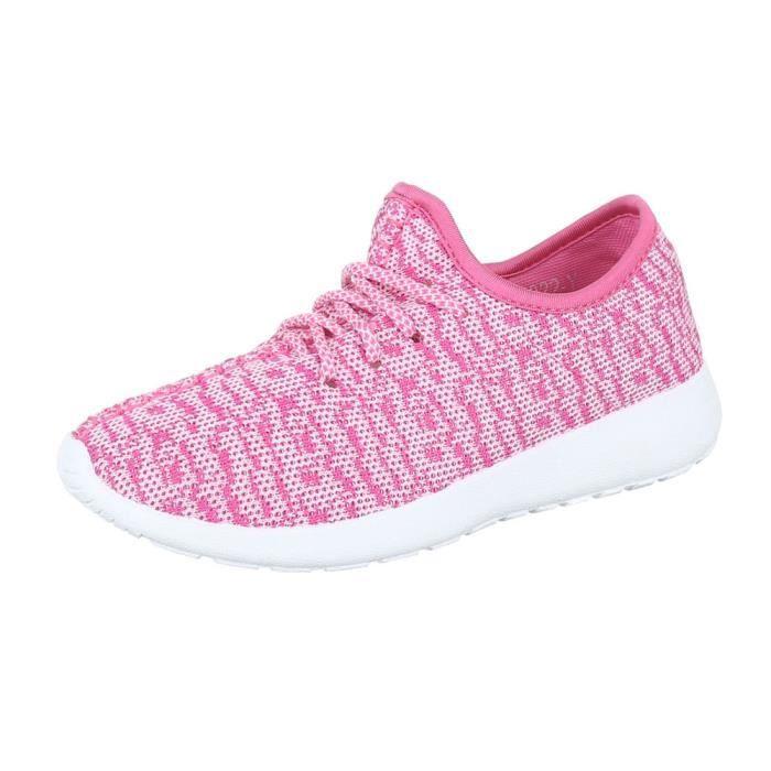 femme Baskets chaussure chaussures décontractées rose vif