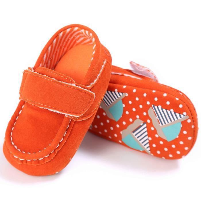 Frankmall®Bébé mignon chaussures de berceau glisser chaussures confort mocassins Soft chaussures prémarcheur ORANGE#WQQ0926230