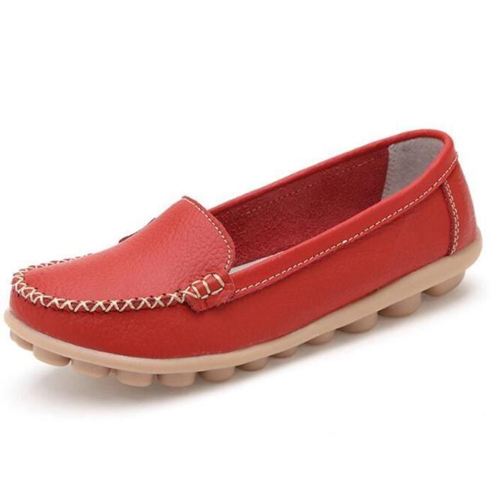 Mocassin Femmes ete Loafer Respirant Chaussures LKG-XZ055Rouge41