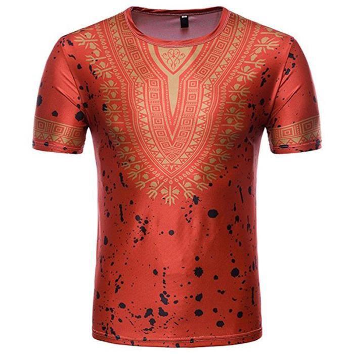 T-Shirt Homme Africain, 3D Tee Shirts Manches Courtes Polo Shirt ... e8634ba3920