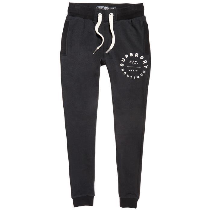 Femme Jogging Noir Superdry Slim L Applique Pantalon Taille qwx71Tv