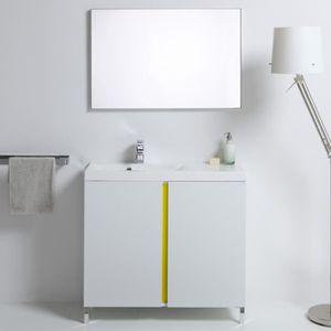 Meuble salle de bain blanc 90 cm achat vente meuble for Meuble salle de bain 90 cm pas cher